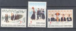 Finland Sc B207-9 1976 Wedding, Anti TB  stamp set mint NH