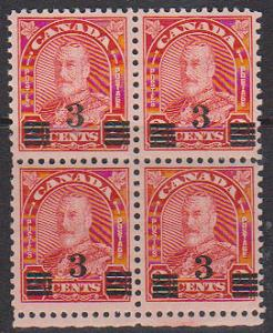 Canada - 1932 3c on 2c Provisional Block of 4 VF-NH #191a