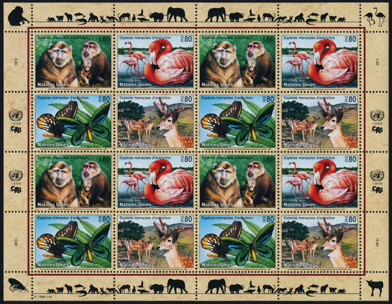 United Nations - Geneva 321a sheet MNH Macaque, Flamingo, Butterfly, Deer