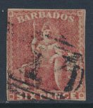 Barbados SG 11 SC# 8  Used  Pale Rose Red 3+ margins please see scans and det...