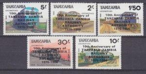 1986 Tanzania 377-381MLH Locomotives - Overprint 7,50 €