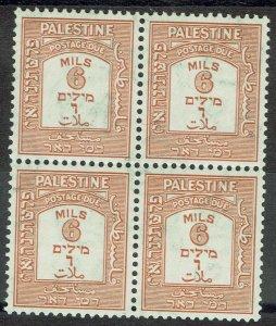 PALESTINE 1928 POSTAGE DUE 6M MNH ** BLOCK