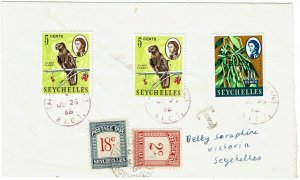 B.I.O.T. 1968 Farquhar Island cancel on cover to Seychelles, postage dues