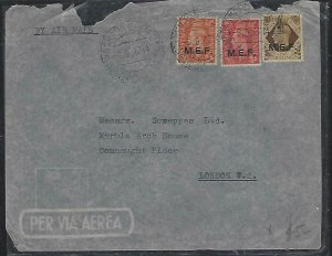 BRITISH MIDDLE EAST FORCES  COVER (P3010B) 1947 ASMARA TO LONDON 1D+2D+1/- A/M