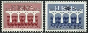Faroe Islands 1984 #106-7 MNH. Europa, Slania