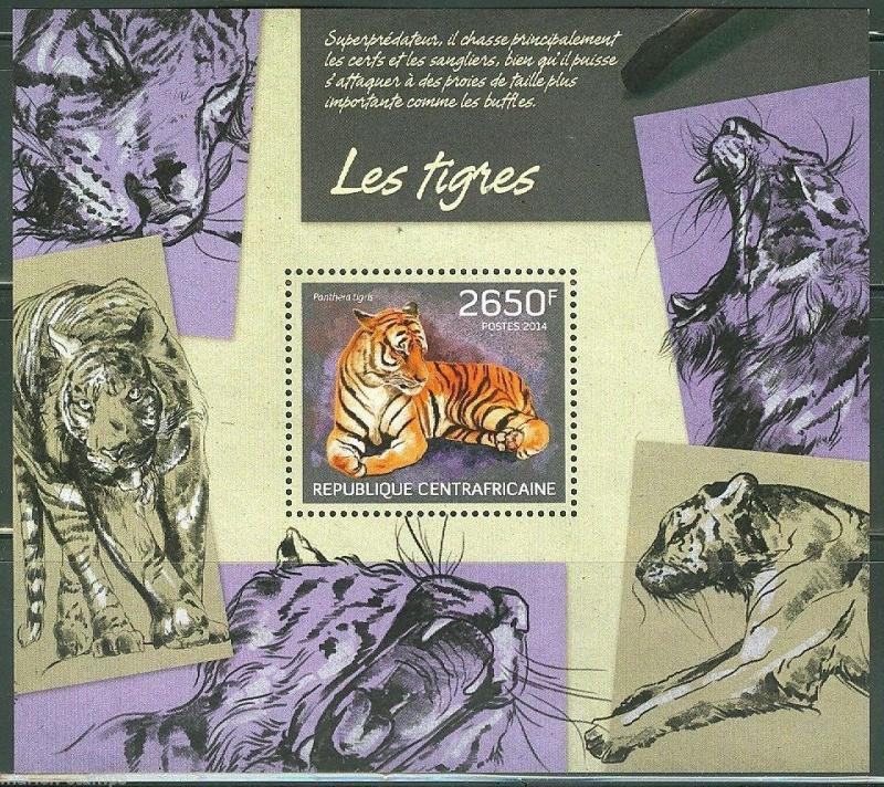 CENTRAL AFRICA 2014 TIGERS  SOUVENIR SHEET MINT NH