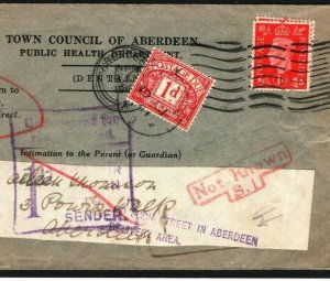 GB SCOTLAND Official Cover DENTISTRY Undelivered Scarce Explanatory 1941 K329
