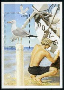 Liberia Birds on Stamps 1999 MNH Sea Birds California Gull Gulls Boats 1v S/S I