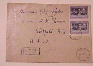 POLAND  COVER PRIVATELY ROULETTED #461 PAIR LOMZA REGISTERED TO USA