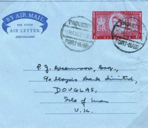 EGYPT PAQUEBOT Port Said GB Stationery AIR LETTER IOM Maritime Cover 1962 30.2
