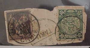 CHINA STAMP #129 USED  WITH FRANCE ON PIECE TAKU  1900