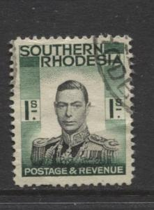 Southern Rhodesia- Scott 50 - KGVI - Definitive -1937 -Used- Single 1/- Stamp
