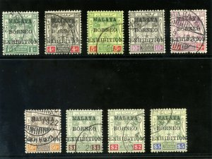 Malaya-Kelantan 1922 KGV Borneo Exhibition set complete VFU. SG 30-38.