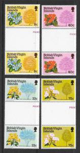 BRITISH VIRGIN ISLANDS Sc#338-341 Complete Gutter Pair Set Mint Never Hinged