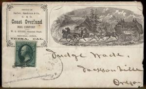 USA California Coast and Overland Mail Co Express Yreka Cover Oregon Judge 90003
