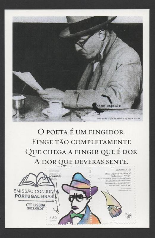 MAXIMUM CARD PORTUGAL join issue BRAZIL BRASIL FERNANDO PESSOA LITERATURE POET