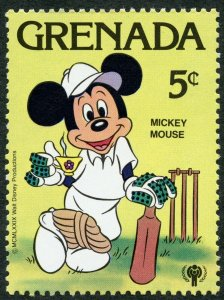 Disney: Mickey Mouse playing cricket. Tea Cup, 1979 Grenada, Scott #955