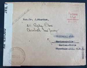 1946 England BAOR Displaced Person D Camp Censored Cover To Chicago IL USA