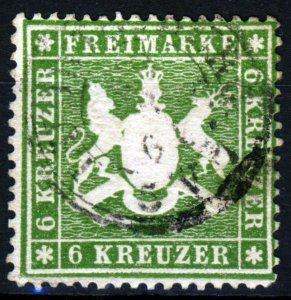 WÜRTTEMBERG GERMANY 1859 6k. Green Embossed Perf 13½ SG 41 VFU