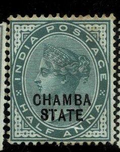 India - Chamba - QV 1887 - 1/2AS  - SG1B - 8TATE RARE