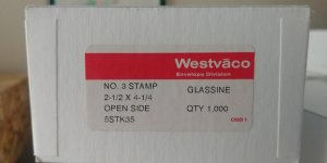 FREE SHIPPING 100  WESTVACO #3 STAMP 2 1/2 X 4 1/4 OPEN SIDE GLASSINE ENVELOPES