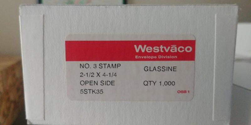FREE SHIPPING 100  WESTVACO #3 STAMP 2 1/2 X 4 1/4 OPEN SIDE GLASSINE ENVELOPES