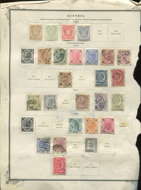 1860-1900 Austria Postage Stamp 4 Page Incomplete Collection $403 Value