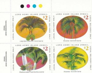 LH33A) Lord Howe Island, Palms block of 4, MUH
