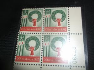 1962 Christmas 4 Cent - Block of (4)