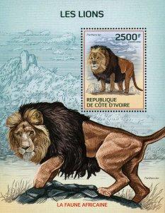 Lion Stamp Panthera Leo Wild Animal African Fauna S/S MNH #1603 / Bl.207