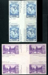 US 768 770 Farley Blocks 4 w/ Crossed Gutters Mint No Gum As Issued CV $47.50