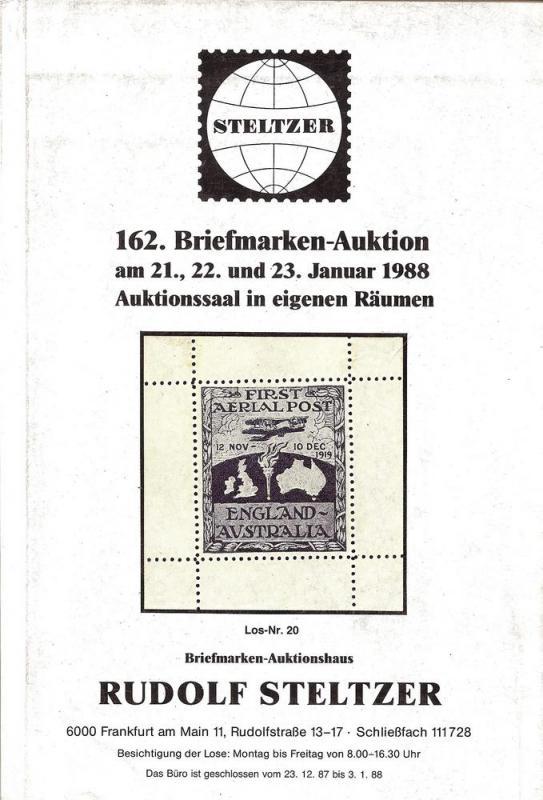 Steltzer: Sale # 162  -  162. Briefmarken-Auktion, Steltz...