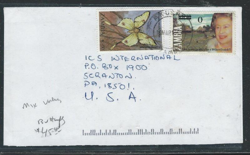 ZAMBIA  (P0312B) QEII REVALUES+K500 BUTTERFLY MIX USEAGE TO USA