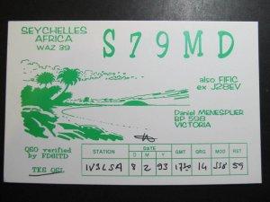9834 Amateur Radio QSL Card SEYCHELLES AFRICA