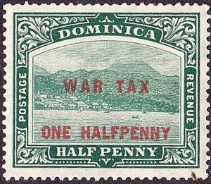 DOMINICA 1916 KGV 1/2d on 1/2d War Tax Deep Green SG55 MH
