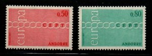 Andorra (Fr) Sc 205-06 1971 Europa stamp set mint NH