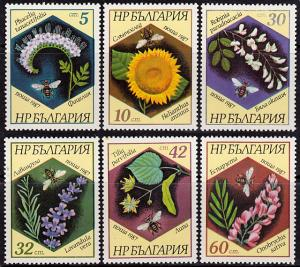 Bulgaria 3266-3271 MNH - Bees - Insects - - Flowers - Plants (1987)