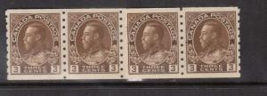 Canada #129i VF/NH Paste Up Strip Of Four