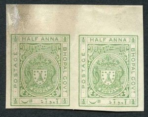 Bhopal SGO314 1932 1/2a Yellow green IMPERF PAIR Plate Proof (no gum)