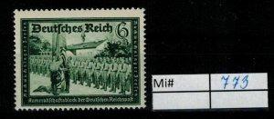 Deutschland Reich TR02 DR Mi 773 1938 Reich Postfrisch ** MNH