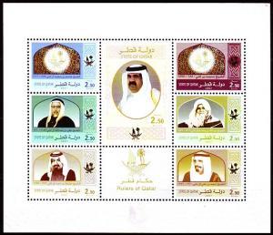 QATAR, RULERS OF QATAR, MINI SHEET , LIMITED EDITION IMPERF   2009