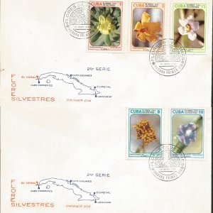 J) 1974 CARIBE, WILD FLOWERS, MAP, MULTIPE STAMPS, SET OF 2 FDC