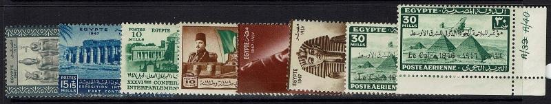 Egypt 8 Mint Hinged 1946-1948 Stamps, Few with Pencil on Back - Lot 121216