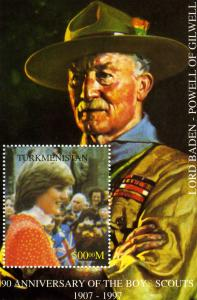 Turkmenistan 1998 PRINCESS DIANA BADEN POWELL s/s Perforated Mint (NH)