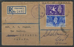 GB 1946 Peace Cover w/ SG 491-492 FDC to Canada see scans SC 264-265 free shi...