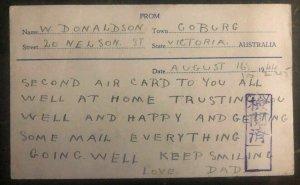 1944 Goburg Australia To Keinjo Camp Chosen Korea POW Prisoner Postcard Cover