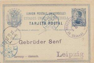 Venezuela 10c San Martin Postal Card 1893 Correos de Venezuela, Caracas to Le...