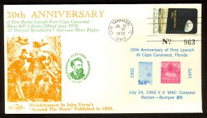 USA 1970 CAPE CANAVERAL FLA First Launch Anniversary SPACE Cover Non Postal SS
