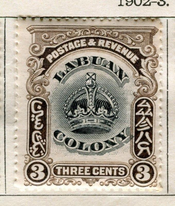 NORTH BORNEO LABUAN;  1902-3 early Crown Colony issue Mint hinged 3c. value