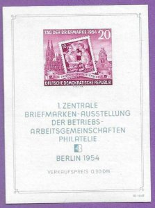 1954  EAST GERMANY  -  SG: MS E200b  -  STAMP DAY  -  UNMOUNTED MINT MINI SHEET